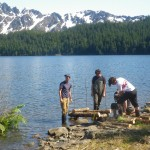 NSURS Students building a Salmon Crib (breeding habitat) at Mt. McKinley, Alaska.